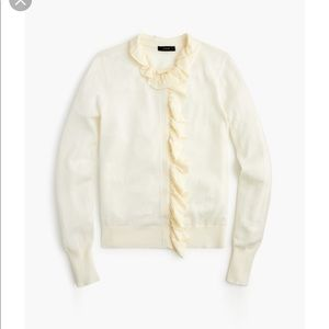 J Crew Merino Wool Ruffled Cardigan Sweater